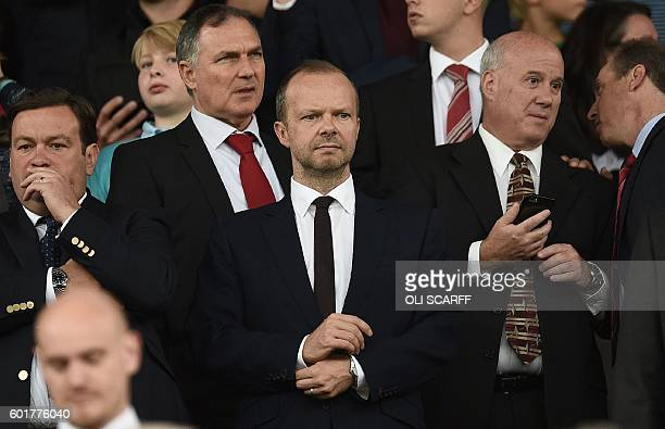 Manchester United's executive vicechairman Ed Woodward awaits kickoff in the English Premier League football match between Manchester United and...
