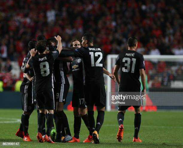 Manchester Uniteds forward Marcus Rashford from England celebrating with is team mate after scoring a goal during the match between SL Benfica v...