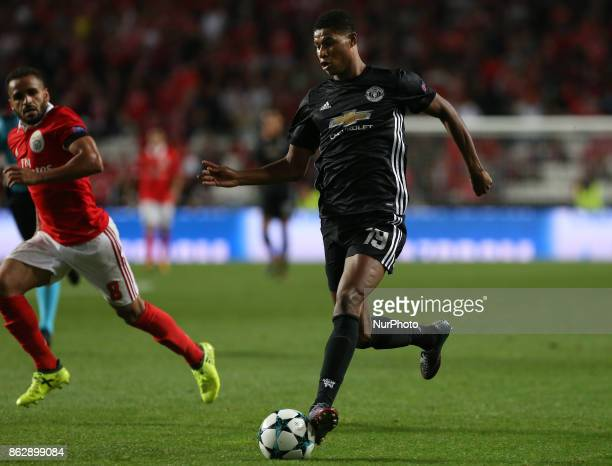 Manchester Uniteds forward Marcus Rashford from England during the match between SL Benfica v Manchester United FC UEFA Champions League playoff...