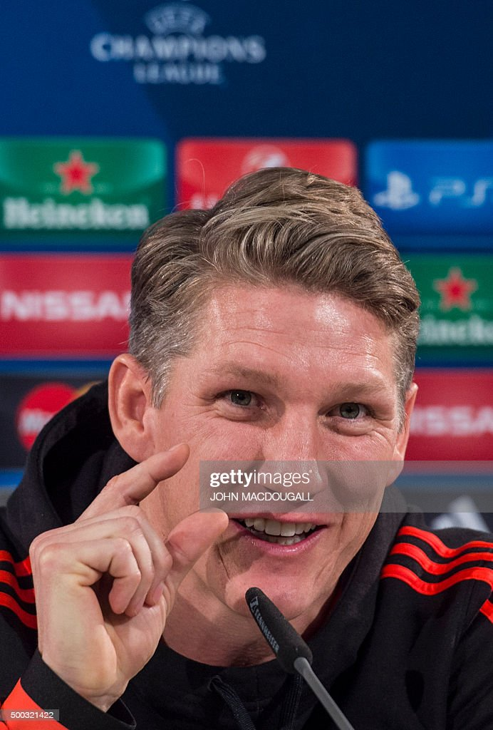 Manchester United's German midfielder Bastian Schweinsteiger addresses a press conference in Wolfsburg, central Germany, on December 7, 2015, one the eve of ... - manchester-uniteds-german-midfielder-bastian-schweinsteiger-addresses-picture-id500321422