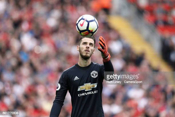 Manchester United's goalkeeper David De Gea during the Premier League match between Liverpool and Manchester United at Anfield on October 14 2017 in...