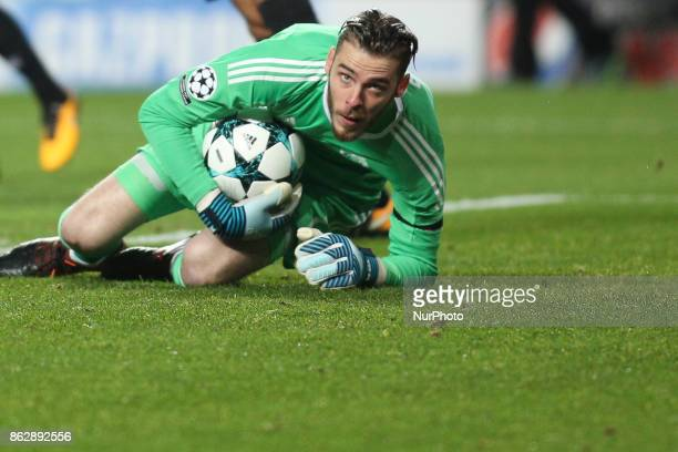 Manchester United's goalkeeper De Gea saves the ball during the Champions League football match between SL Benfica and Manchester United at Luz...