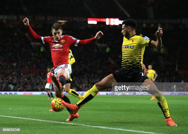 Manchester United's Guillermo Varela and Watford's Etienne Capoue battle for the ball
