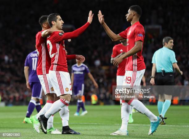 Manchester United's Henrikh Mkhitaryan celebrates scoring his side's first goal of the game with Marcus Rashford during the UEFA Europa League...