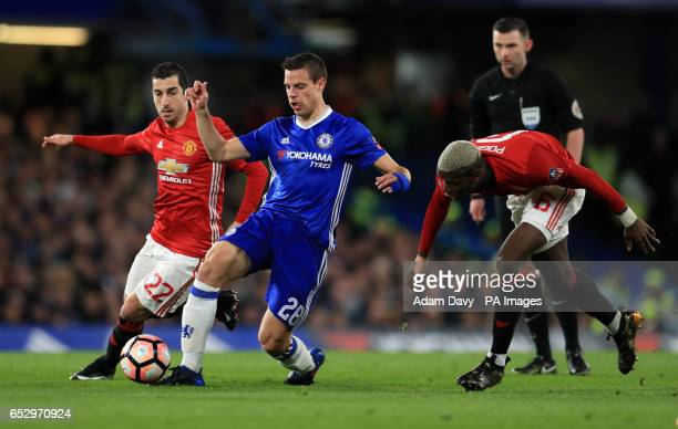 Manchester United's Henrikh Mkhitaryan Chelsea's Cesar Azpilicueta and Manchester United's Paul Pogba during the Emirates FA Cup Quarter Final match...