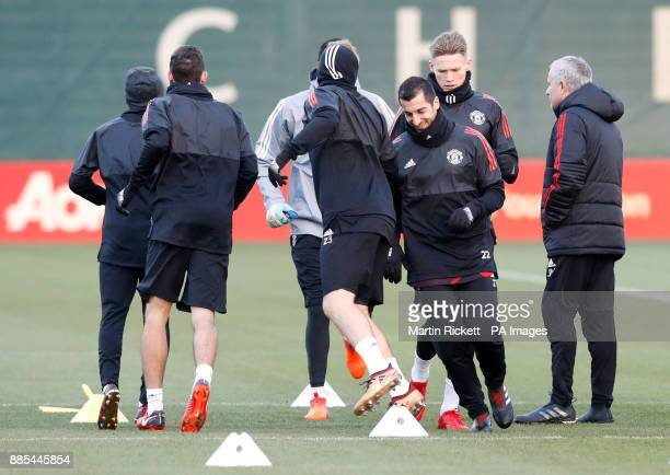 Manchester United's Henrikh Mkhitaryan during the training session at the AON Training Complex Carrington