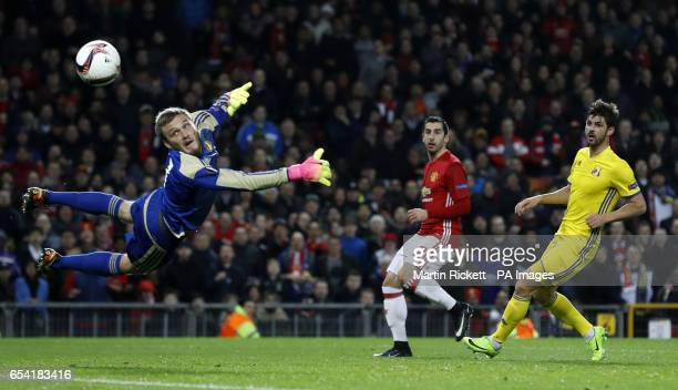 Manchester United's Henrikh Mkhitaryan shoots at goal during the UEFA Europa League Round of Sixteen Second Leg match at Old Trafford Manchester