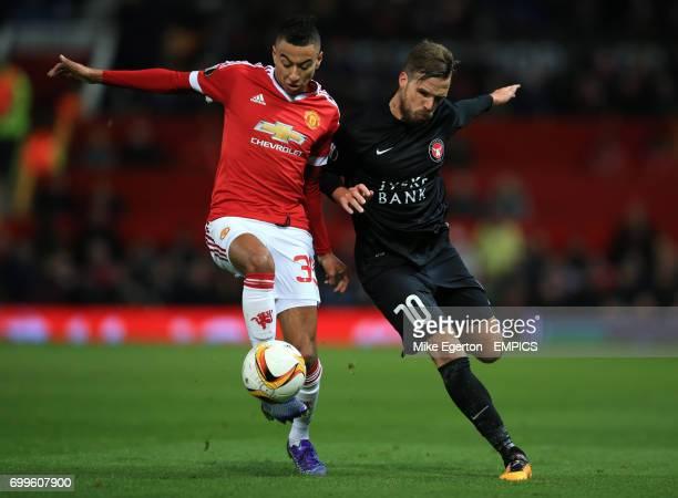 Manchester United's Jesse Lingard and FC Midtjylland's Filip Novak