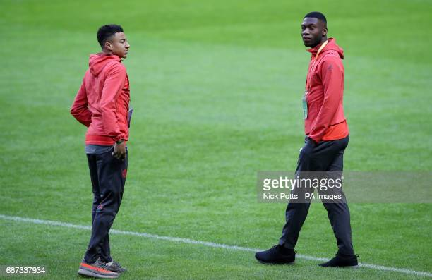 Manchester United's Jesse Lingard and Timothy FosuMensah during the walk around at the Friends Arena Stockholm in Sweden ahead of the Europa League...
