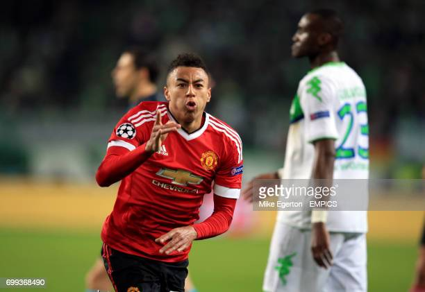 Manchester United's Jesse Lingard celebrates scoring a goal before it is disallowed