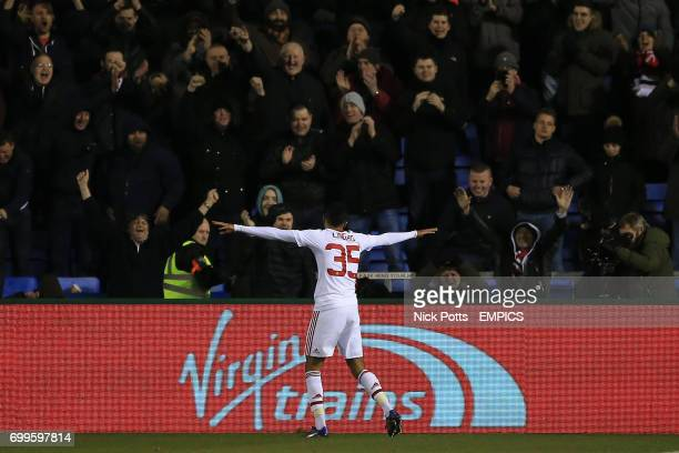 Manchester United's Jesse Lingard celebrates scoring his sides third goal of the game