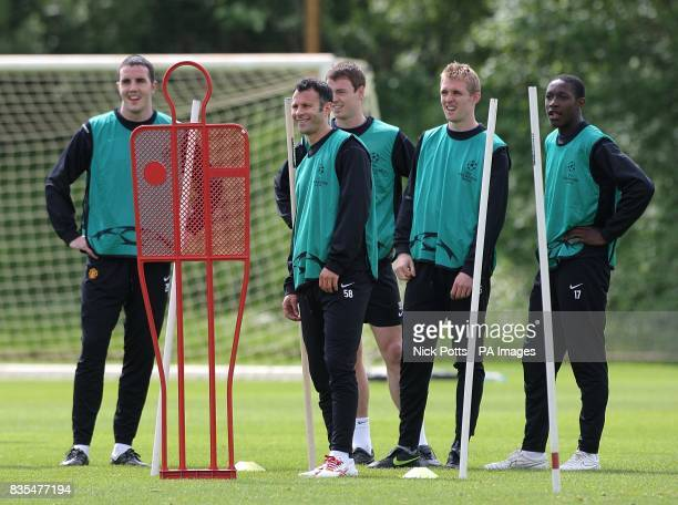 Manchester United's John O'Shea Ryan Giggs Jonny Evans Darren Fletcher and Danny Welbeck during the training session