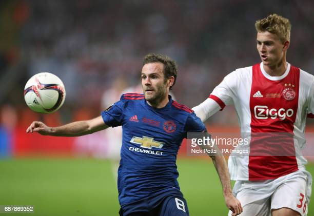 Manchester United's Juan Mata and Ajax's Matthijs de Ligt battle for the ball during the UEFA Europa League Final at the Friends Arena in Stockholm...