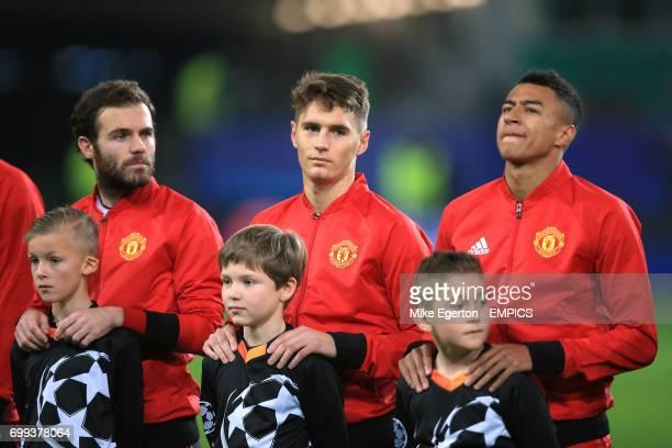 Manchester United's Juan Mata Guillermo Varela and Jesse Lingard