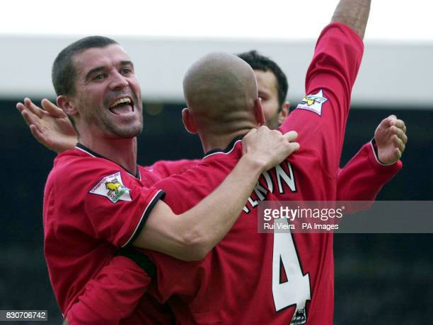 Manchester United's Juan Veron celebrates after scoring against Newcastle United with teammates Roy Keane and Ryan Giggs during the Premiership game...