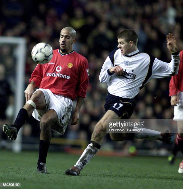 Manchester United's Juan Veron in action against Liverpool's Steve Gerrard in the FA Barclaycard Premiership game Between Manchester United v...