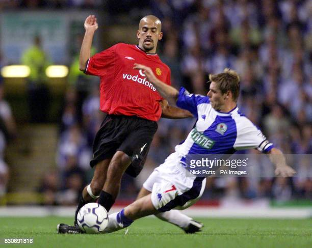 LEAGUE Manchester United's Juan Veron is challenged by Blackburn Rovers' Garry Flitcroft which he received a yellow card for during the FA...