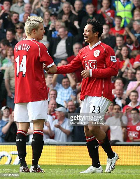 Manchester United's Kieran Richardson celebrates scoring the opening goal of the game with Alan Smith during the FA Barclays Premiership match at Old...