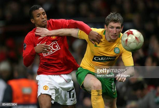 Manchester United's Luis Nani and Celtic's Mark Wilson battle for the ball