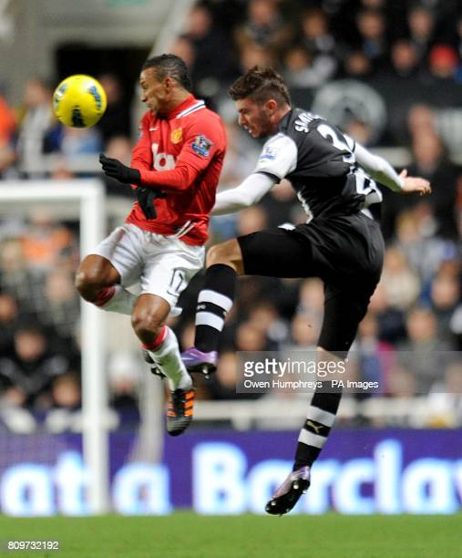 Manchester United's Luis Nani and Newcastle United's Davide Santon battle for the ball