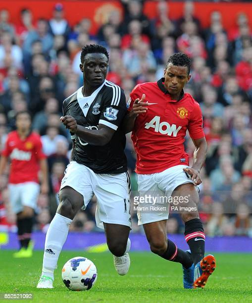 Manchester United's Luis Nani and Southampton's Victor Wanyama battle for the ball