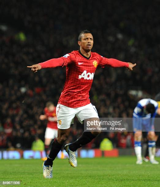Manchester United's Luis Nani celebrates scoring his side's first goal of the match