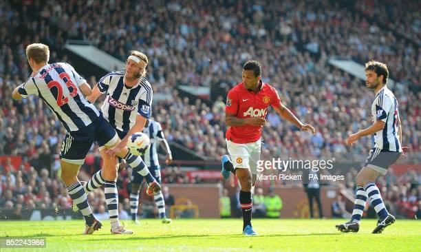 Manchester United's Luis Nani has a headed attempt on goal