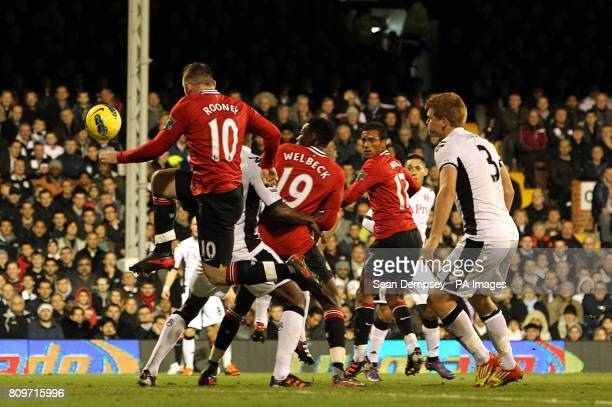 Manchester United's Luis Nani scores his side's second goal of the game