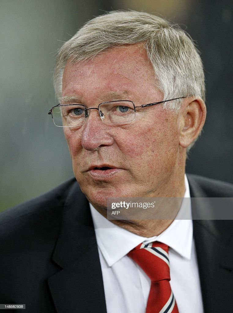 Manchester United's manager Sir Alex Ferguson looks on ahead of their MTN Football Invitational match against Amazulu at the Moses-Mabhida Stadium on July 18, 2012 in Durban.