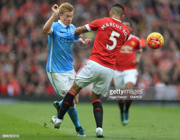 Manchester United's Marcos Rojo and Manchester City's Kevin De Bruyne battle for the ball