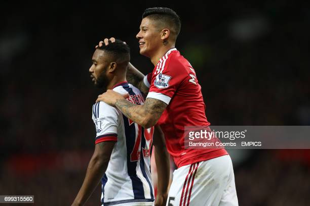 Manchester United's Marcos Rojo and West Bromwich Albion's Stephane Sessegnon