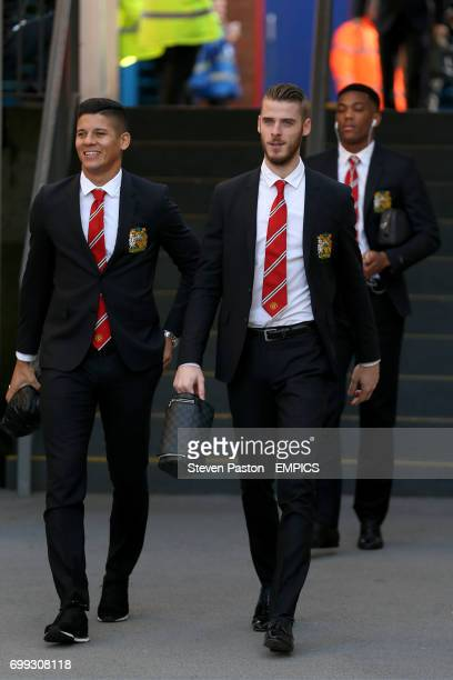 Manchester United's Marcos Rojo David de Gea and Anthony Martial arrive at the ground
