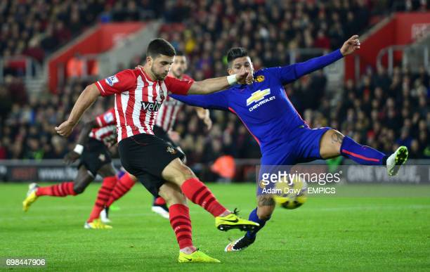 Manchester United's Marcos Rojo dives to block a shot from Southampton's Shane Long