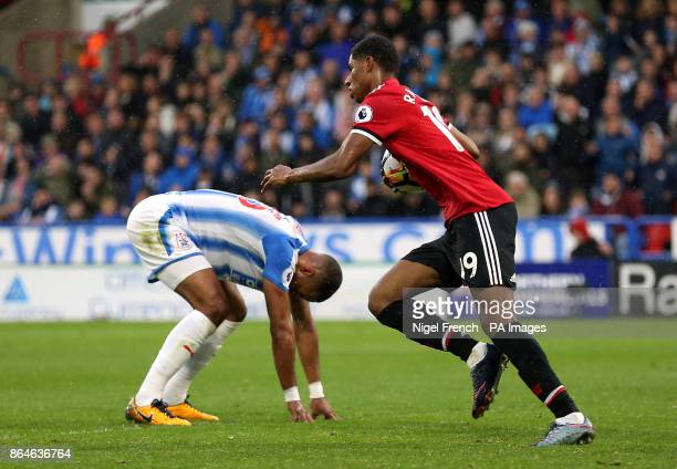 Manchester United's Marcus Rashford after scoring his side's first goal of the game during the Premier League match at the John Smith's Stadium...