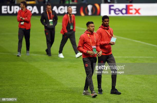 Manchester United's Marcus Rashford and Jesse Lingard during the walk around at the Friends Arena Stockholm in Sweden ahead of the Europa League...