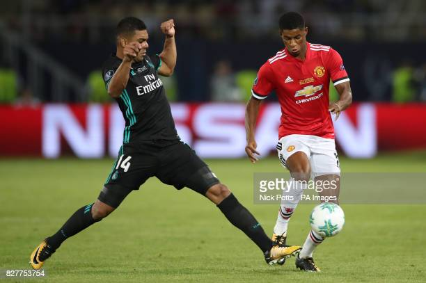 Manchester United's Marcus Rashford and Real Madrid's Casemiro battle for the ball during the UEFA Super Cup match at the Philip II Arena Skopje...