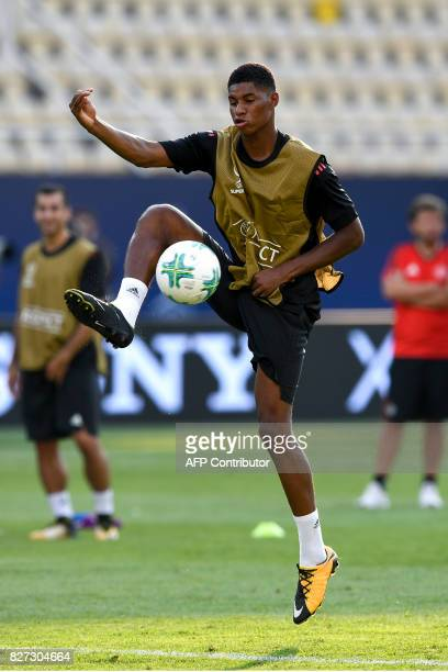 Manchester United's Marcus Rashford attends a training session ahead of the UEFA Super Cup 2017 football match between Real Madrid and Manchester...