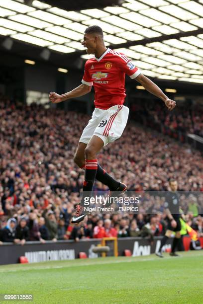 Manchester United's Marcus Rashford celebrates scoring his side's first goal