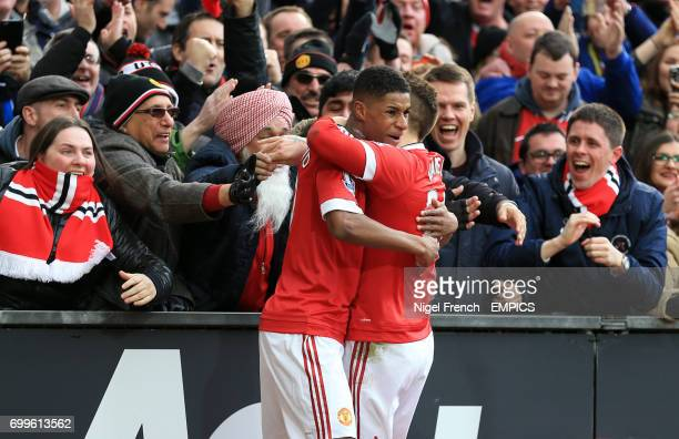 Manchester United's Marcus Rashford celebrates scoring his side's first goal with team mate Gulermo Varela