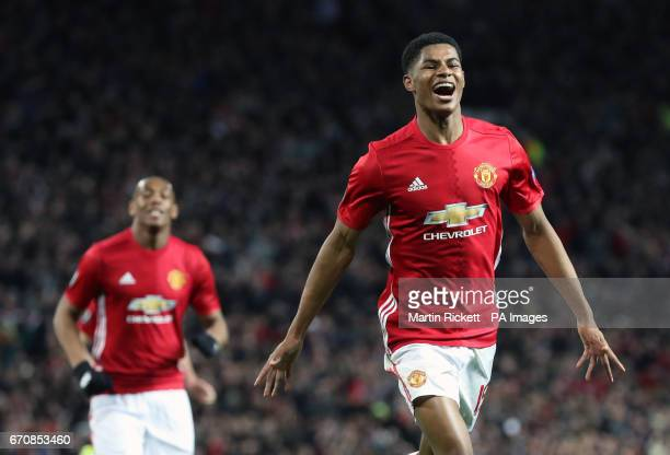 Manchester United's Marcus Rashford celebrates scoring his side's second goal of the game during the UEFA Europa League Quarter Final match at Old...