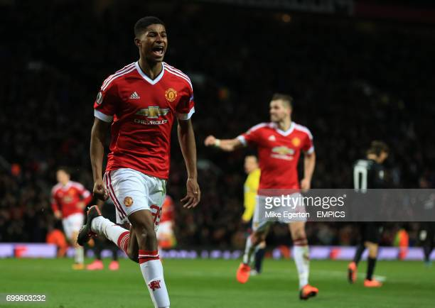 Manchester United's Marcus Rashford celebrates scoring his side's second goal