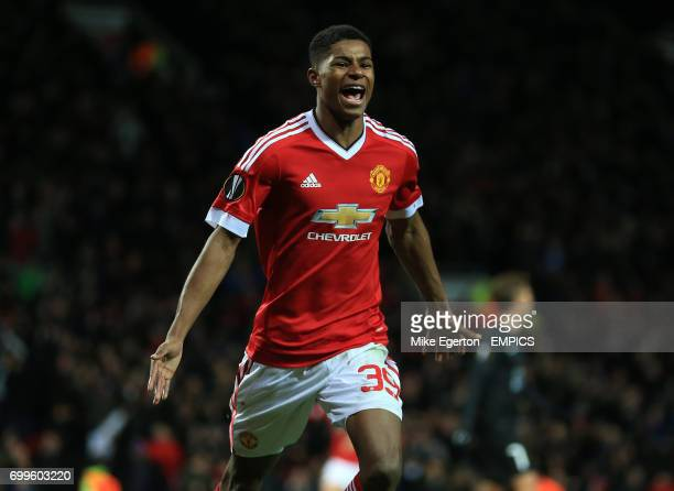 Manchester United's Marcus Rashford celebrates scoring his side's third goal