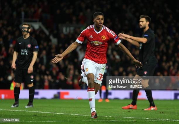 Manchester United's Marcus Rashford celebrates their second goal