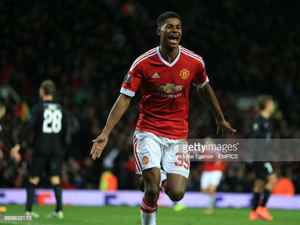 Manchester United's Marcus Rashford celebrates their third goal
