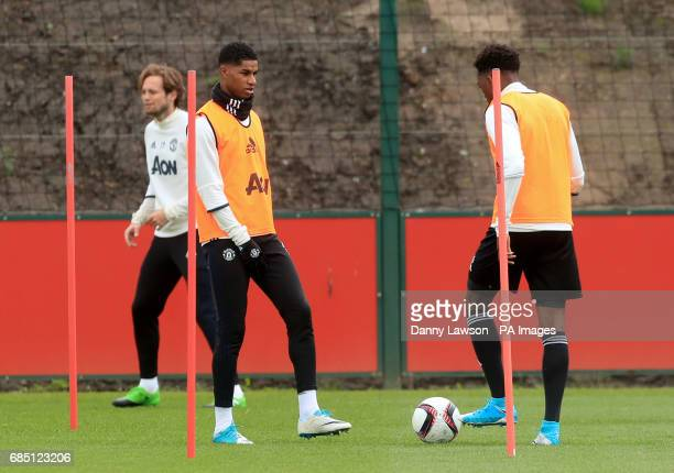 Manchester United's Marcus Rashford during a training session at the Aon Training Complex Carrington