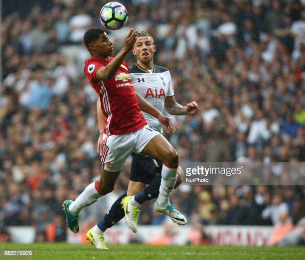 Manchester United's Marcus Rashford during Premier League match between Tottenham Hotspur and Manchester United at White Hart Lane London 14 May 2017
