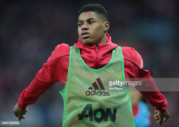 Manchester United's Marcus Rashford during the EFL Cup Final Match between Manchester United and Southampton on February 26 at the Wembley Stadium...