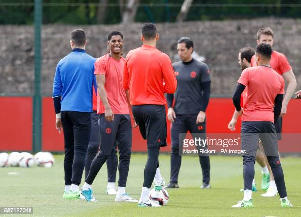 Manchester United's Marcus Rashford during the training session at the AON Training Complex in Carrington ahead of the Europa League Final against...