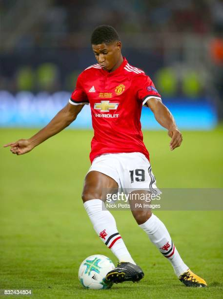 Manchester United's Marcus Rashford during the UEFA Super Cup match at the Philip II Arena Skopje Macedonia