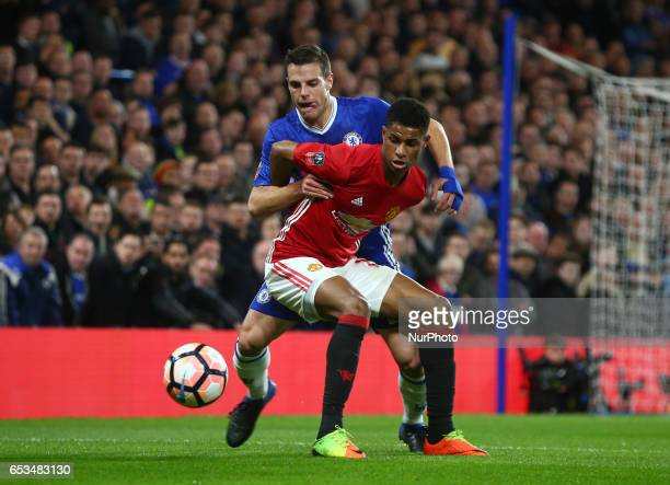 Manchester United's Marcus Rashford holds of Chelsea's Cesar Azpilicueta during the The Emirates FA Cup Sixth Round match between Chelsea and...
